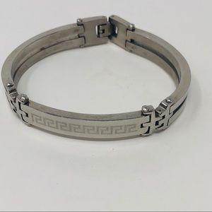 Other - GU Mens Stainless Steel Greek KeyBangel  Bracelet